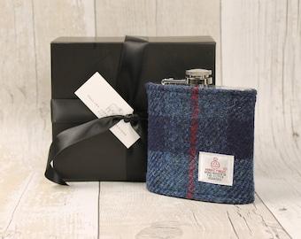 Hip Flask / Harris Tweed / Groomsmen Gift / Navy Check / Tweed Flask / Plaid Hip Flask / Wedding Gift / Best Man Gift