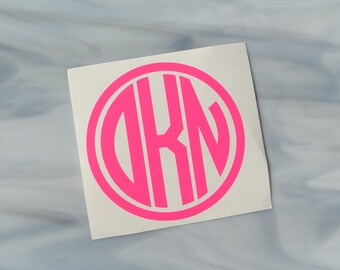 NEON Circle Vinyl Monogram Decal - Monogram Decals - Monogram Stickers - Neon Vinyl Decals - Neon Vinyl - Neon Stickers - Notebook Decals