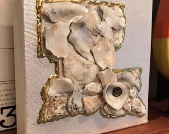 Oyster Shell Louisiana on Canvas Acrylic Paint 6x6 canvas Gold Leaf Oyster Shell