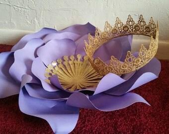 Doris lace crown, lace crown, gold lace crown