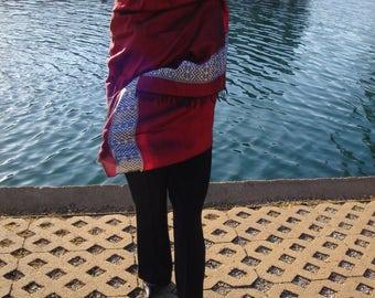 Women Crimson Red Shawl/Large Red Shawl/scarf ethiopia/Handmade scarf/Saba scarf