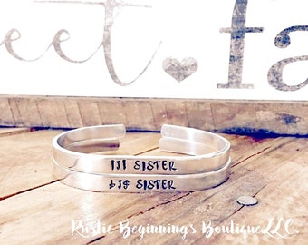 lil sister big sister cuff set, hand stamped sisters cuff set, hand stamped cuff set