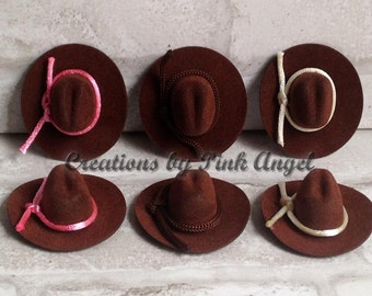 6 or more Small Cowboy Hat Favors, Brown Cowboy Hat With Rope Trim, Western Wedding Favors, Cowgirl Mini Hats, Small Cowboy Hat Favors