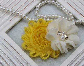 Yellow hair clips, flower hair bows, yellow hairbow, yellow and ivory hair clips, toddler hairbows, yellow toddler hair clips