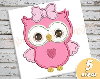 Owl Applique Design - 5 sizes - Machine Embroidery Design File