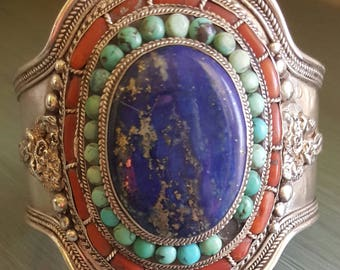 Antique Vintage Tibetan Cuff Bracelet In Lapis, Coral & Turquoise In Silver with Heavy Striations, 141 Grams