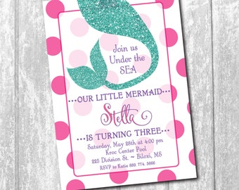 Mermaid Birthday Invitation printable/Digital File/under the sea invitation, pool party, swim party, mermaid bash/Wording can be changed