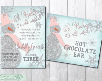 Adorable Winter Birthday Invitation and Hot Chocolate Bar Sign/DIGITAL FILES/printable/wording can be changed/silver, glitter, snowflake