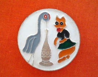 Vintage cute soviet pin badge - Fox and Crane / Animal / Fairy-tale / Fairy-tale character / Made in USSR, 1970s.