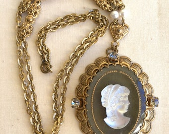 Cameo Pendant Filagree Goldtone Made in West Germany