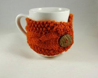 Mug Cozy Cable Knit • Coffee Cup Cozy • Coffee Sleeve • Cup Holder • Tea Cup Cozy!  Pumpkin Spice w/ Coconut Button! Ready 2 Ship!