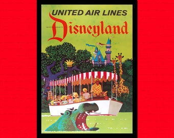 Disneyland Travel Print - Vintage Travel Decor Travel Gift Idea Travel Decor Disneyland Poster Nursery Decor Gift   Reproduction