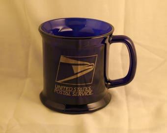 Rare Vintage United States Postal Service Cobalt Blue Glass Coffee Mug/ Cup USA