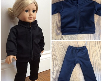 """18"""" doll clothes warm-up jacket and pants with custom name option"""