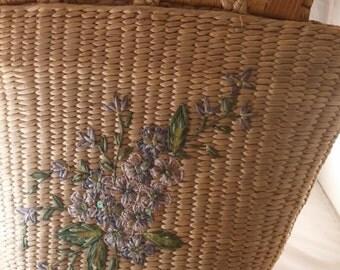 Purse, vintage Capelli purse, Vintage straw purse, handbag, vintage purple floral purse, vintage Capelli handbag,  purse, handbag