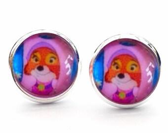 Disney Robin Hood Maid Marian Gift Novelty Stud Earrings. 10mm Available as cufflinks