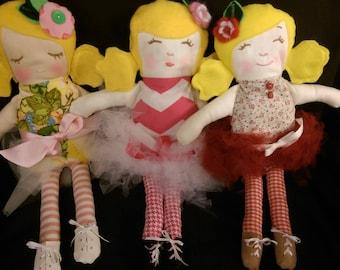 17 in. Handmade Ballerina Doll, Blonde Hair