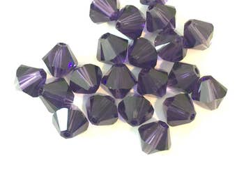 6PC 6mm Dark Purple Swarovski Faceted Bicone Stone