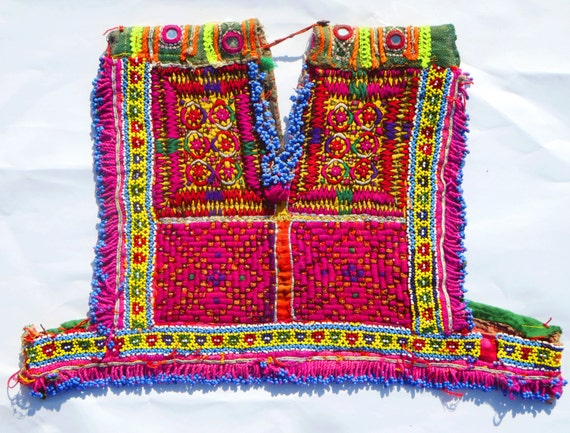 Vintage beautiful hand embroidery and beads work neck yoke a