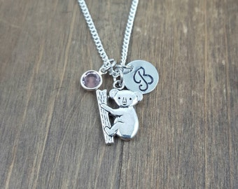 Personalized Koala Necklace - Hand stamped Monogram Koala Necklace - Initial, Birthstone Necklace - Swarovski Crystal Birthstone