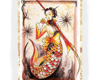 Koi Mermaid. A4 Artprint.