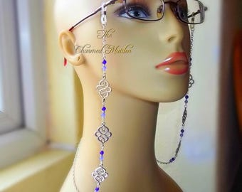Purple Celtic Glasses Chain, Jade Glasses Chain, Beaded Spectacles Chain, Wiccan Glasses Chain, Pagan Glasses Chain, Gemstone Glasses Holder