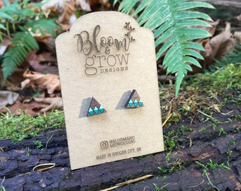 Wooden Earrings - Mini Mountain Studs