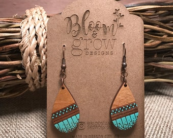 Wooden Earrings - Tribal Teardrop