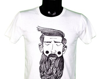 t-shirt-beard - hipster - illustration / / bearded man white color t-shirt hipster art drawing grey color