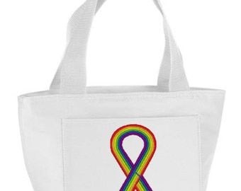 Embroidered Pride Ribbon Lunch Bag
