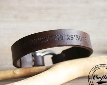 Leather Anniversary Gift, Anniversary Gifts for Boyfriend, Longitude Bracelet, Latitude Longitude, Coordinate Bracelet, GPS Coordinates