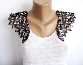 Broni Angel Wings,Wings Applique,Gray Wings ,Costume Embellishment,Sequin Wings,Large  Angel Wings