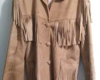 Vintage 50's Rare Jo-O-Kay Deerskin Suede Fringe Leather Western / Hippie Jacket size S/M
