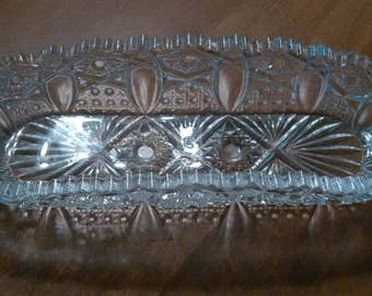 L E Smith Glass crystal clear butter or candy dish