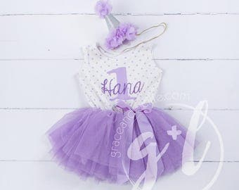 First Birthday outfit, First Birthday Dress, Purple birthday outfit, 1st birthday outfit, 1st birthday dress, personalized name, polka dot