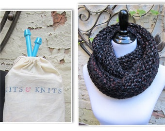 Knitting Kit DIY Giant Double Wrap Cowl Super Chunky includes giant knitting needles, bulky yarn, free scarf pattern, beginner knitting book