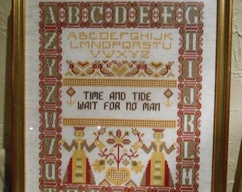 Cross Stitch Sampler, Vintage Handmade, Alphabet Cross Stitch Sampler