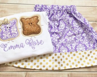 Peanut Butter and Jelly Set - PB&J - Girl's Shirt and Skirt