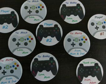 "Tags, VIDEO GAME, gamer, die-cut, perfect for gifts, party favors, thank you, birthdays, project,  2"" circle"