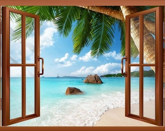 "Anse Lazio Beach on Praslin island in Seychelles Removable Wall Sticker- 24""x32"""