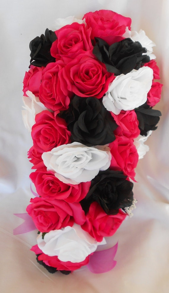 Silk Wedding bridal bouquet pink Azellia  black and white 4 pc Cascade style made of all roses