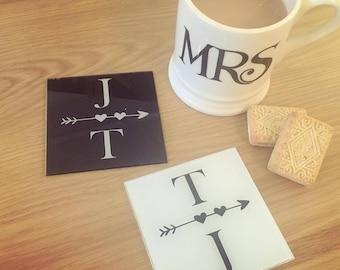 Initials Personalised Coaster Set of 2