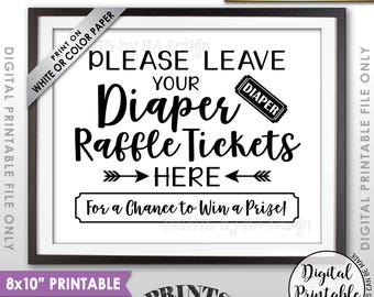 "Diaper Raffle Ticket Sign, Leave Your Raffle Ticket Here, Shower Raffle Ticket Baby Shower Sign, Black Text 8x10"" Printable Instant Download"