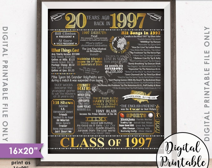"20th Reunion 1997 Poster, 20th Reunion Decor, 20 Years Ago USA, Graduated in 1997, Instant Download 16x20"" Chalkboard Style Printable Sign"