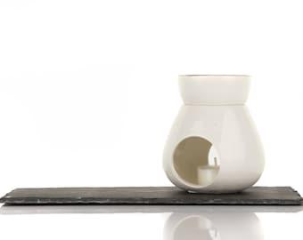 Diffuser lozenge of scented wax, two pieces, White/Rim Bowl ceramic gold