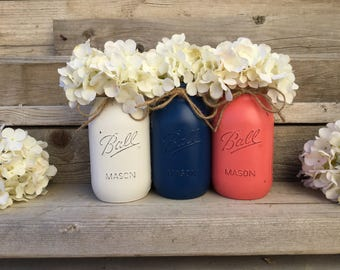 Coral and Navy Wedding Decor, Coral and Navy Wedding Centerpieces, Coral and Navy Wedding Decorations, Coral and Navy Painted Mason Jars