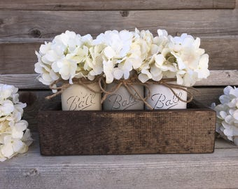Distressed Mason Jars,Rustic Home Decor,Farmhouse Decor, Painted Mason Jars,Mason Jar Decor,Ball, Farm Table Centerpiece, Brown,Rustic Decor