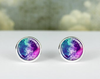 Purple Galaxy earrings · galaxy studs · silver space studs · gift for her · 12mm and 16mm earring · galaxy stud earrings · Galaxy Jewelry