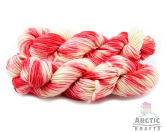 Bleeding heart, 100% domestic wool, single ply bulky yarn. 110 yards