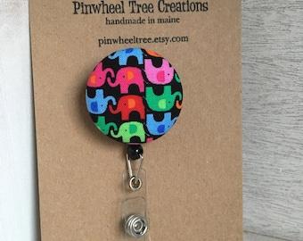 Elephant Badge Reel,  Retractable Badge Holder,  Elephants Fabric Swivel ID Name Holder, Student Nurse Teacher Coach Gift